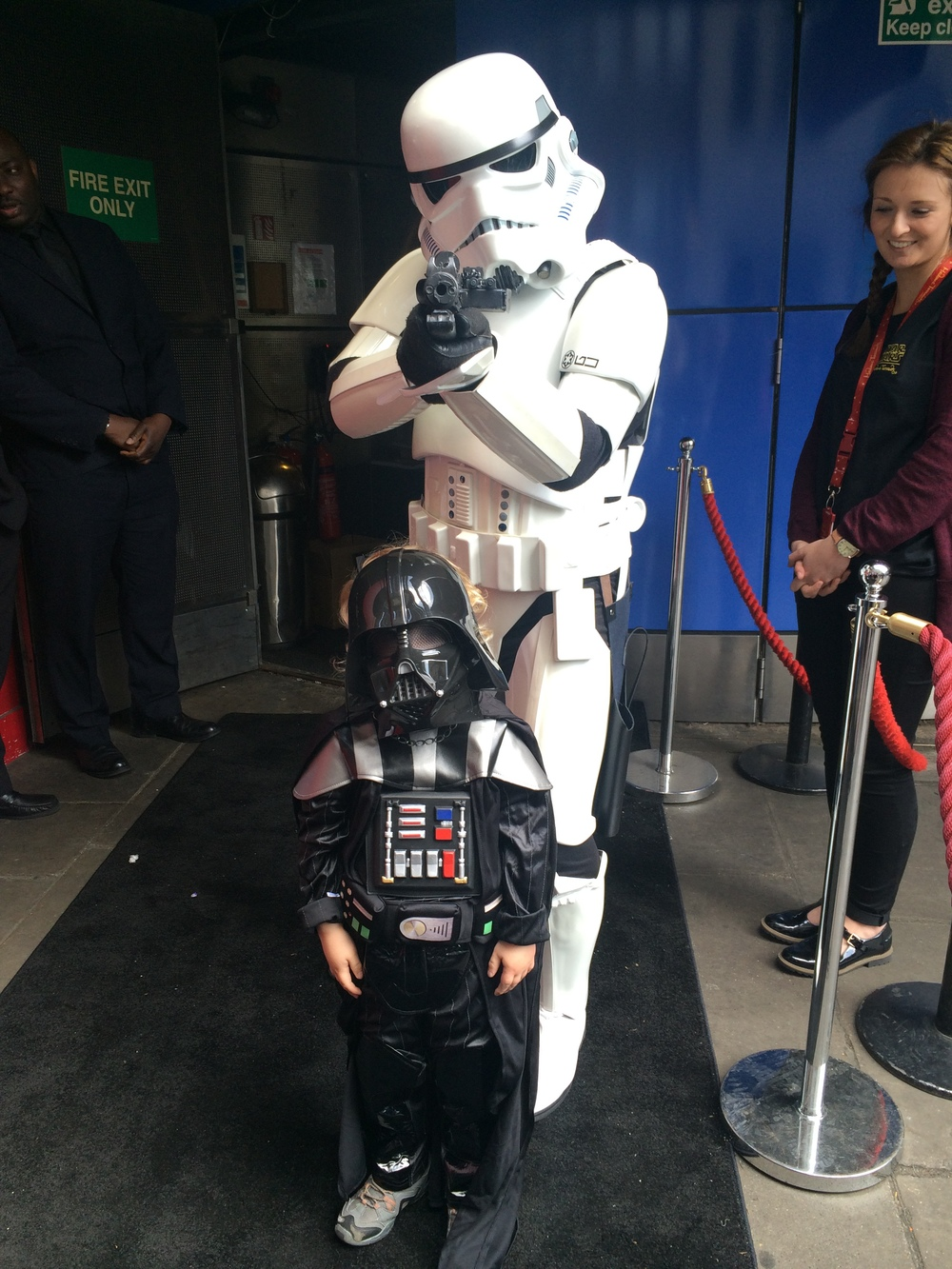 Our three foot Darth Vader (Jacob) meeting one of the Storm Troopers