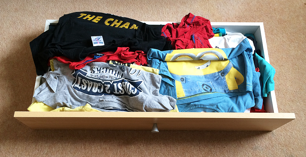 Having a four year old who likes to get his own t shirts out makes the drawers a bit messy