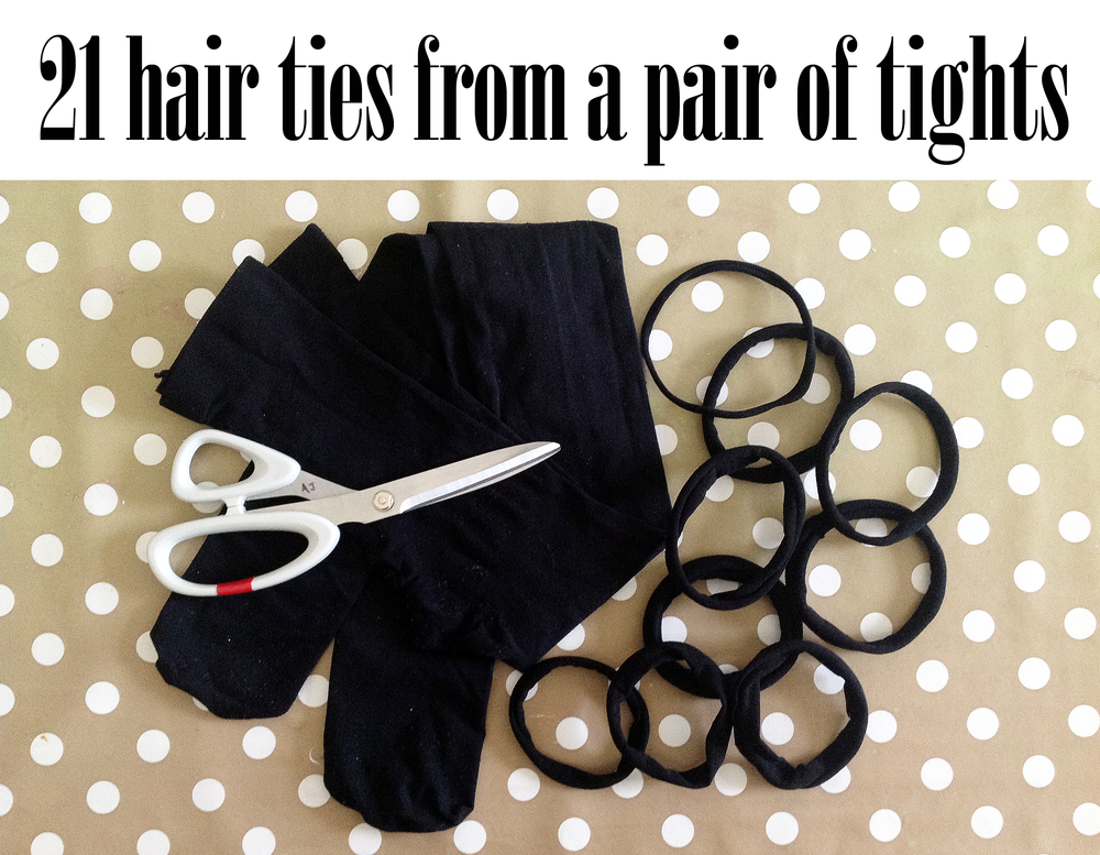4e4178266a2e9 How to make 21 hair ties and a headband out of an old pair of kids tights —  Our Family Life - A family of bloggers