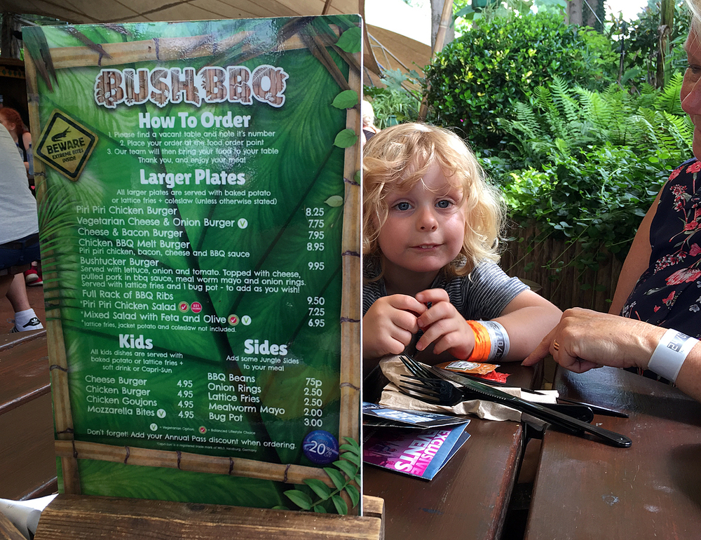 Having lunch in the Bush BBQ at Thorpe Park