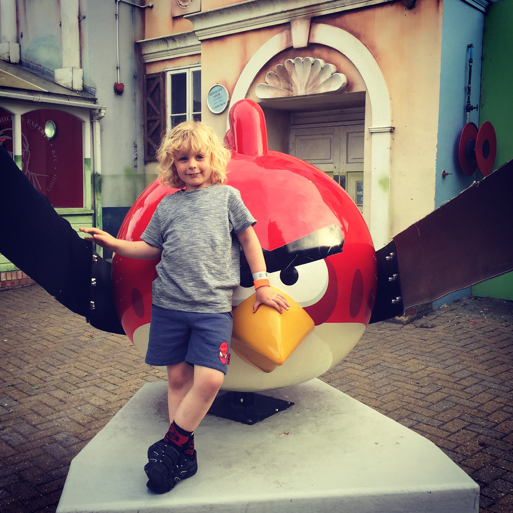 Jacob enjoying Angry Birds Land at Thorpe Park Resort