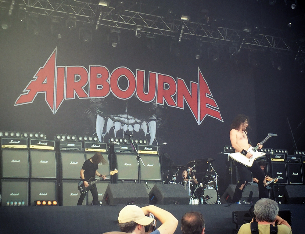 Airbourne performing on the 'Main Stage' at Ramblin' Man Fair