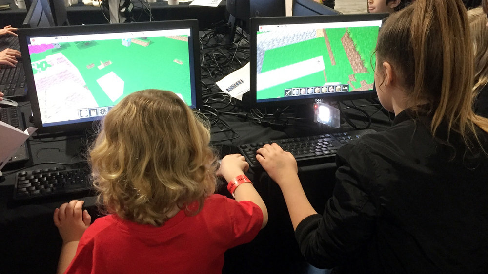 Jacob and Amber playing Minecraft at the Digital Kids Show, Manchester