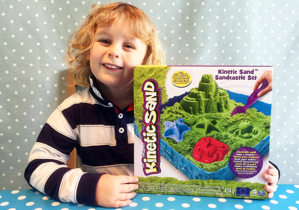 Jacob had lots of fun playing with the Kinetic Sand Sandcastle Set