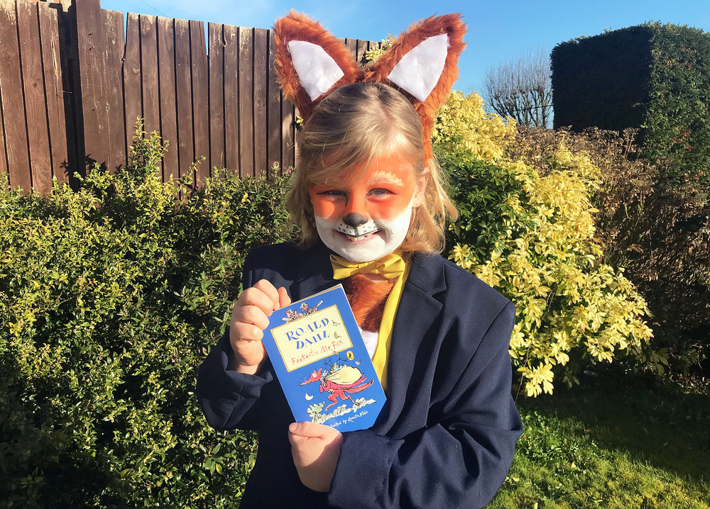 Jacob loving dressing as Roald Dahl's Fantastic Mr Fox for World Book Day