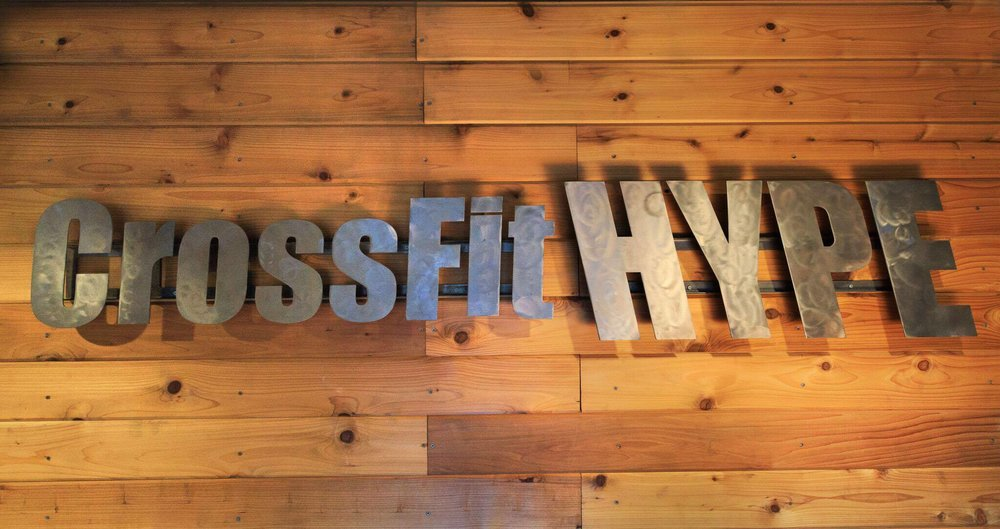 CrossFit HYPE Fitness east boca Steel sign custom wood work bootcamp bodybuilding crossfit HIIT Lifting powerlifting power olympic