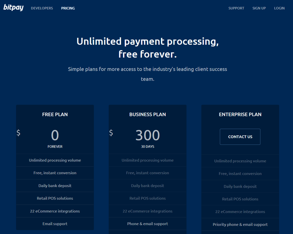 BitPay's new free forever tier