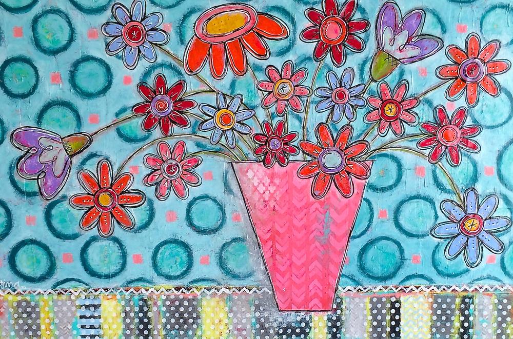 "Sweet Morning, 2014, 36"" x 24"" mixed-media original painting by gina mckinnis"