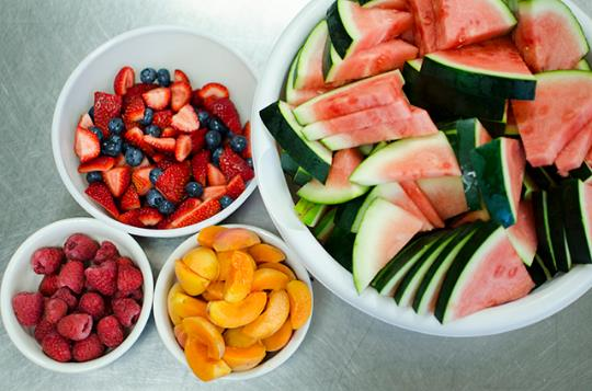 Fresh fruits and vegetables are a part of every meal.