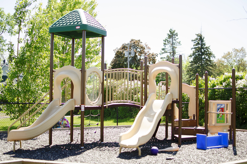 The upper playground includes a new play structure (installed in May 2014).