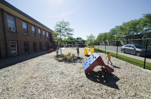 The lower playground features plenty of space for climbing, running, exploring and playing games