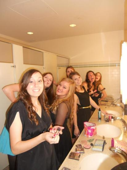 How many HIT girls can you fit into one restroom?