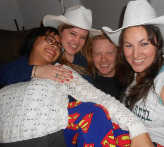 It's all smiles when HIT mixes with the VGs!! Thy, Rachel, and Claire take a moment to cheese it up with Andy (AKA: Peeta Mellark). Where did you find those 10 gallon hats girls?? They weren't part of the theme….#trebleyell  Now, the Superman pajamas…I approve Miss Minkles!