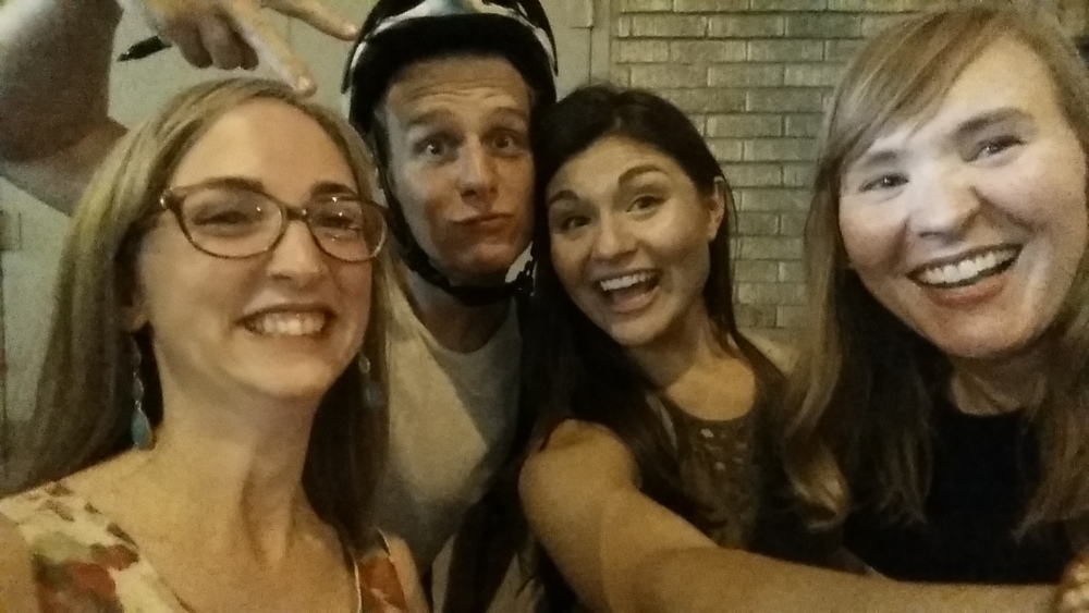 Jonathan Groff (King George) photobombs us with Phillipa Soo (Eliza Hamilton).