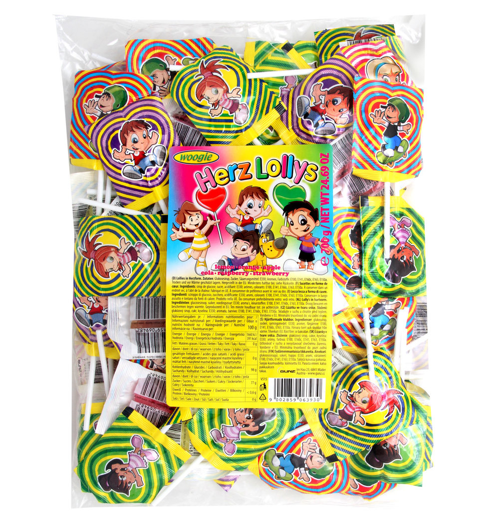 Woogie Heart Shaped Lollipops
