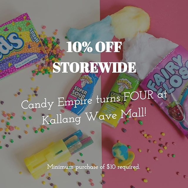 It's our fourth year @kallangwavemall! 🎉Don't miss out on our storewide 10% sale, for a limited time only! 🍭🍫🍿