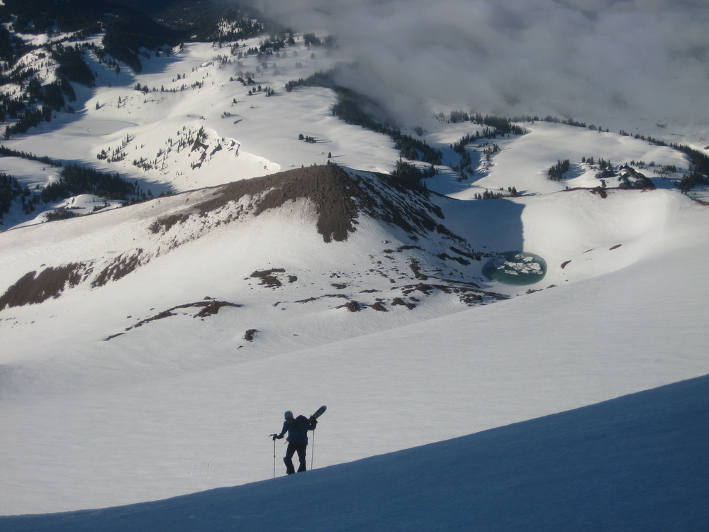 Myself, halfway through a traverse of five peaks just west of Bend, OR. Pre-Free Range era: trying to use an adequately simple and light pack with an inadequate ski carry. Photo cred: Kevin Grove