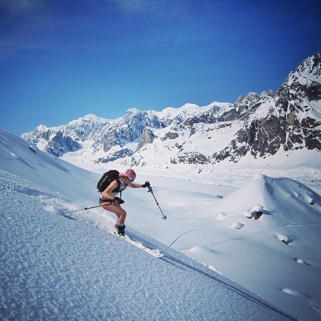 Free Range girl and wild sister Zoe Roy exuding the Free Range ethos in the Alaska Range