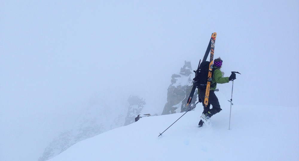 Your's truly near the summit of Young's. Photo: Eric Hafla. A cloud layer descended on us right after topping out on the ride, hence the lack of actual ski pics.