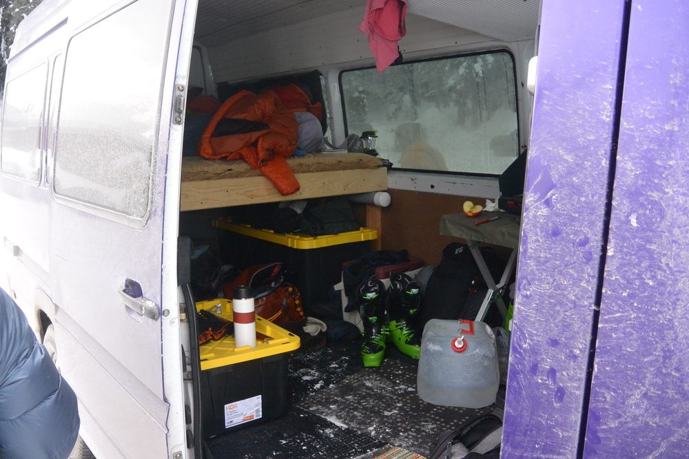 Our mobile base camp for the week, Barney the Purple Bandit. More to come on that front.