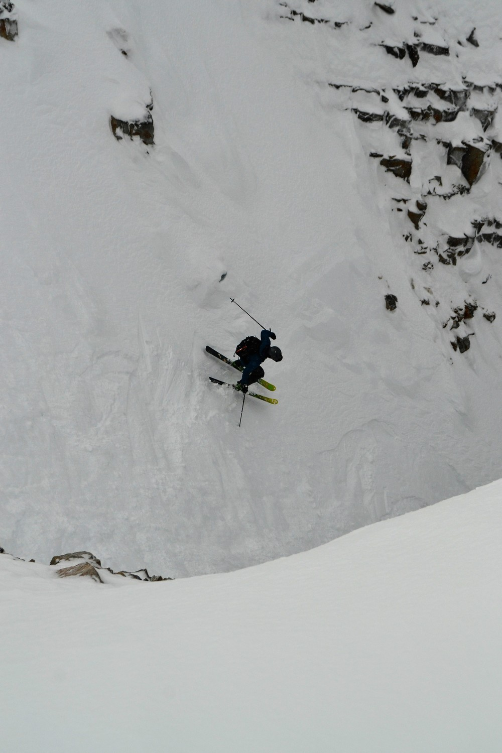 Jake Parker catches James in a committing jump turn at the top of Forever Young.