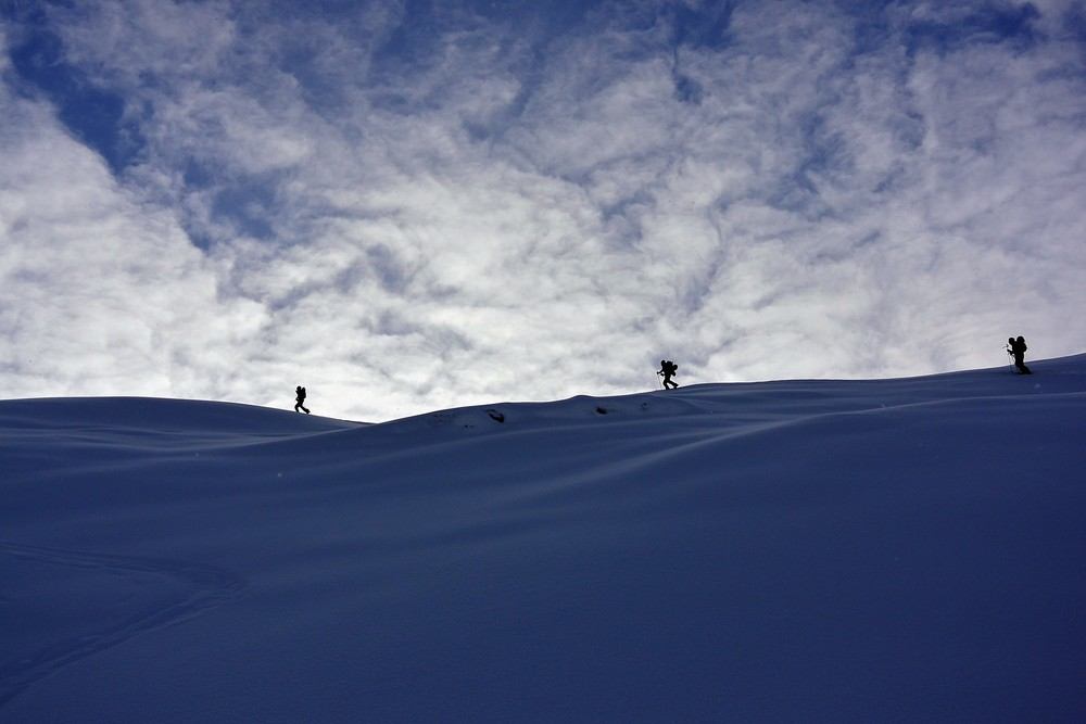 Skinning up to Balu Pass. Photo: Jackson Knoll
