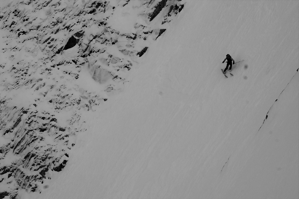 Eric Hafla sheds his speed in the meat of the couloir.