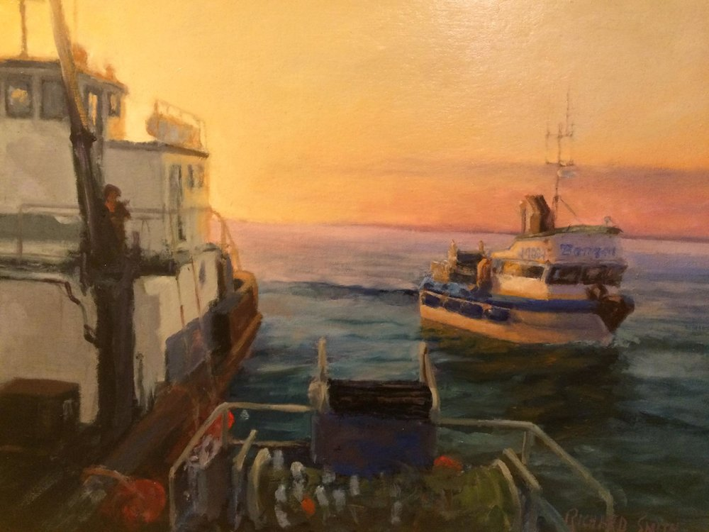 A painting by Dick Smith, a pioneer of Bristol Bay fishing, of the Bonzai pulling up to a tender to offload its hold.
