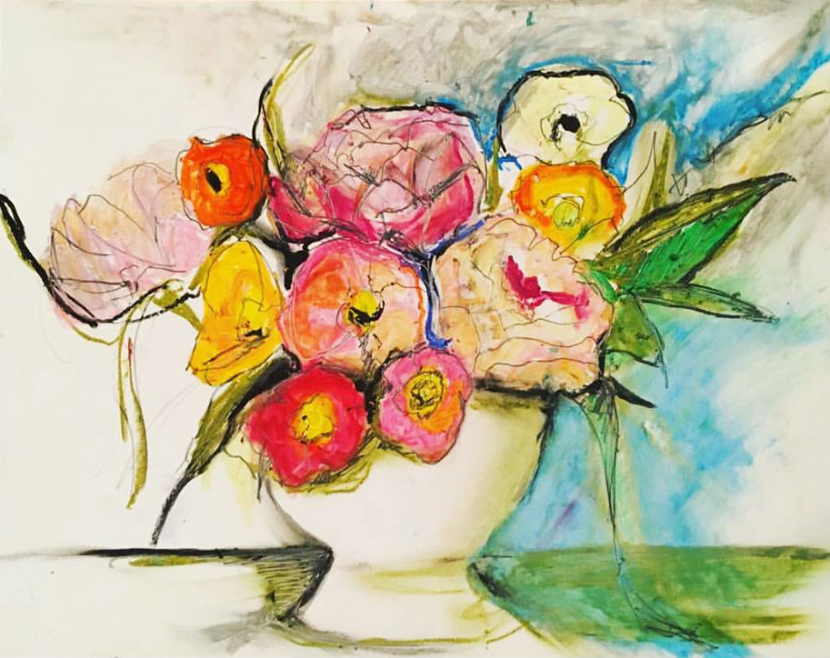 "Sarah Greene Reed   Untitled Still Life , 2017 Oil pastel on paper 11"" x 14"""