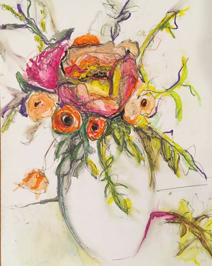 "Sarah Greene Reed   Untitled Still Life , 2017 Oil pastel on paper 14"" x 11"""