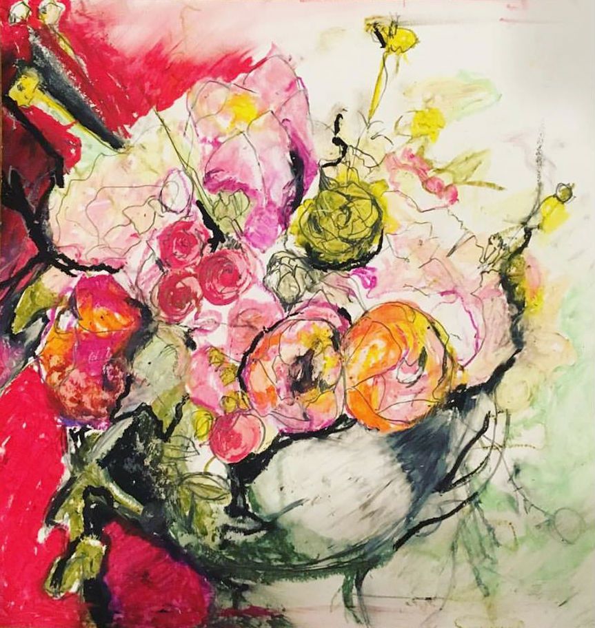 "Sarah Greene Reed   Untitled Still Life , 2017 Oil pastel on paper 11"" x 10.5"""