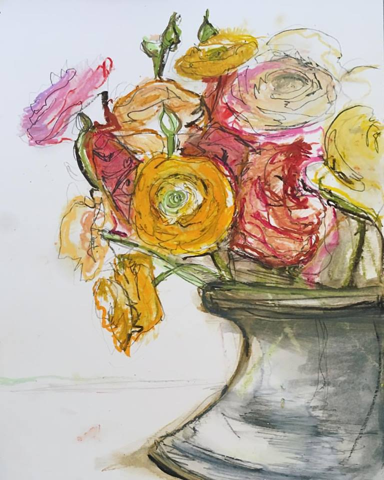 "Sarah Greene Reed   Untitled Still Life , 2017 Oil pastel on paper 14"" x 11"" SOLD"