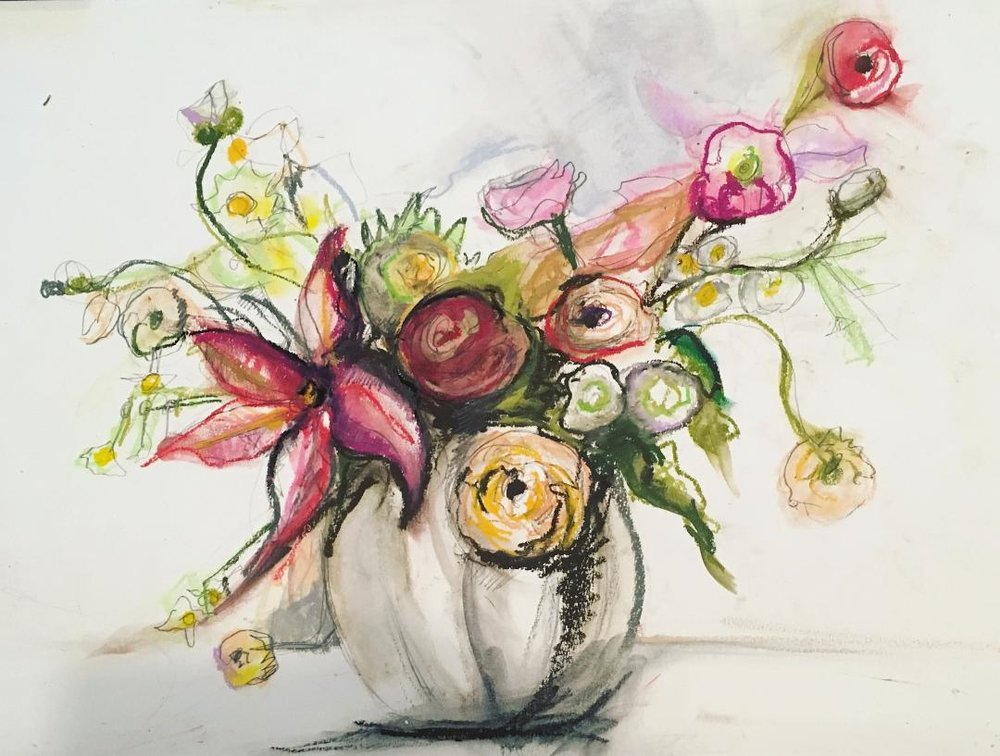 "Sarah Greene Reed   Untitled Still Life , 2017 Oil pastel on paper 19"" x 24"""