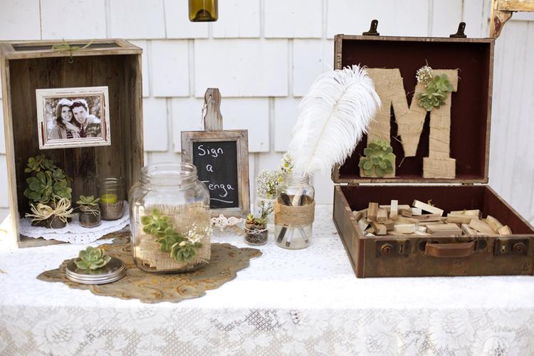 Succulent Wedding Decor Guest Book Table Ideas Burlap Rustic Vintage