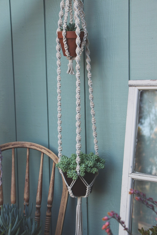 double decker macrame plant hanger succulent succulents