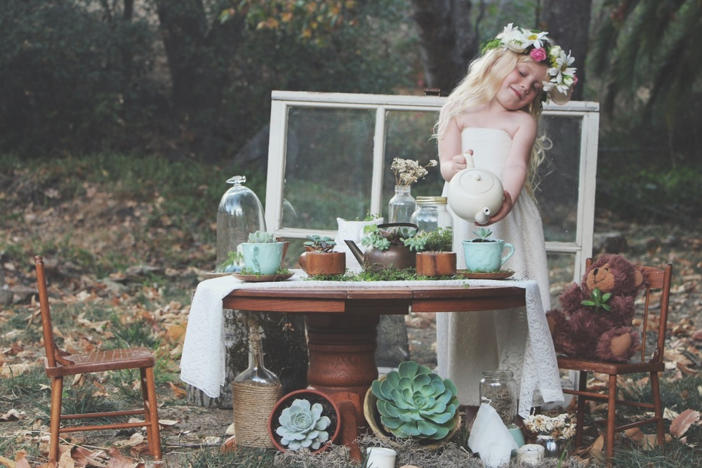 A Succulent Tea Party via Needles + Leaves :: we styled this photo shoot with succulents in a teapot, teacups, mason jars, a bell jar, and terra cotta pots. :: flowers, roses, daisies, babies breath::vintage inspired owl, reused, repurposed, shabby chic, window, candles, miniature furniture:: diy flower crown and little lace dress tutorial.