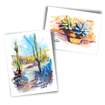 Watercolor and oil paintings by Steve Barton via Needles + Leaves blog.