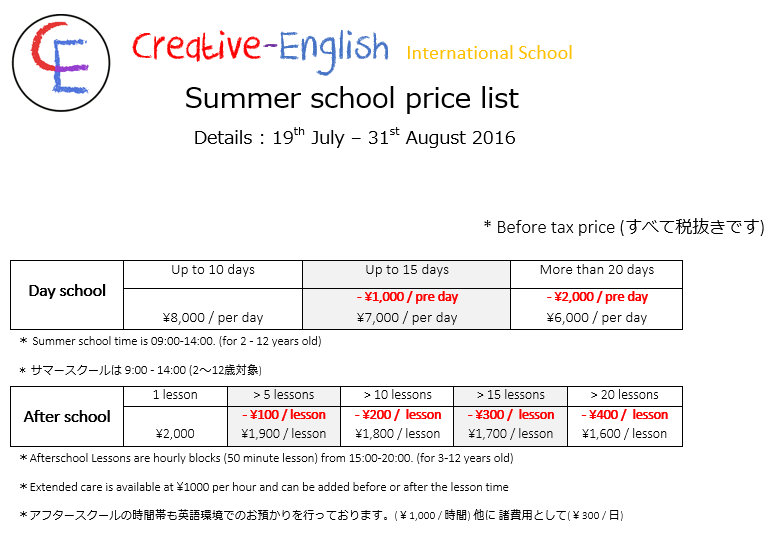 Creative-English Fujimino Summer school price list,  Positions are limited.