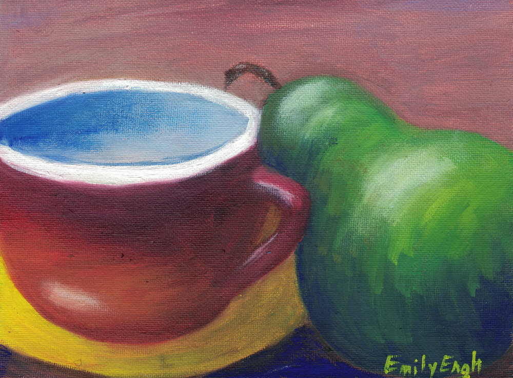 Pair and Cup 6X8 Inch    Purchase Original Painting Here