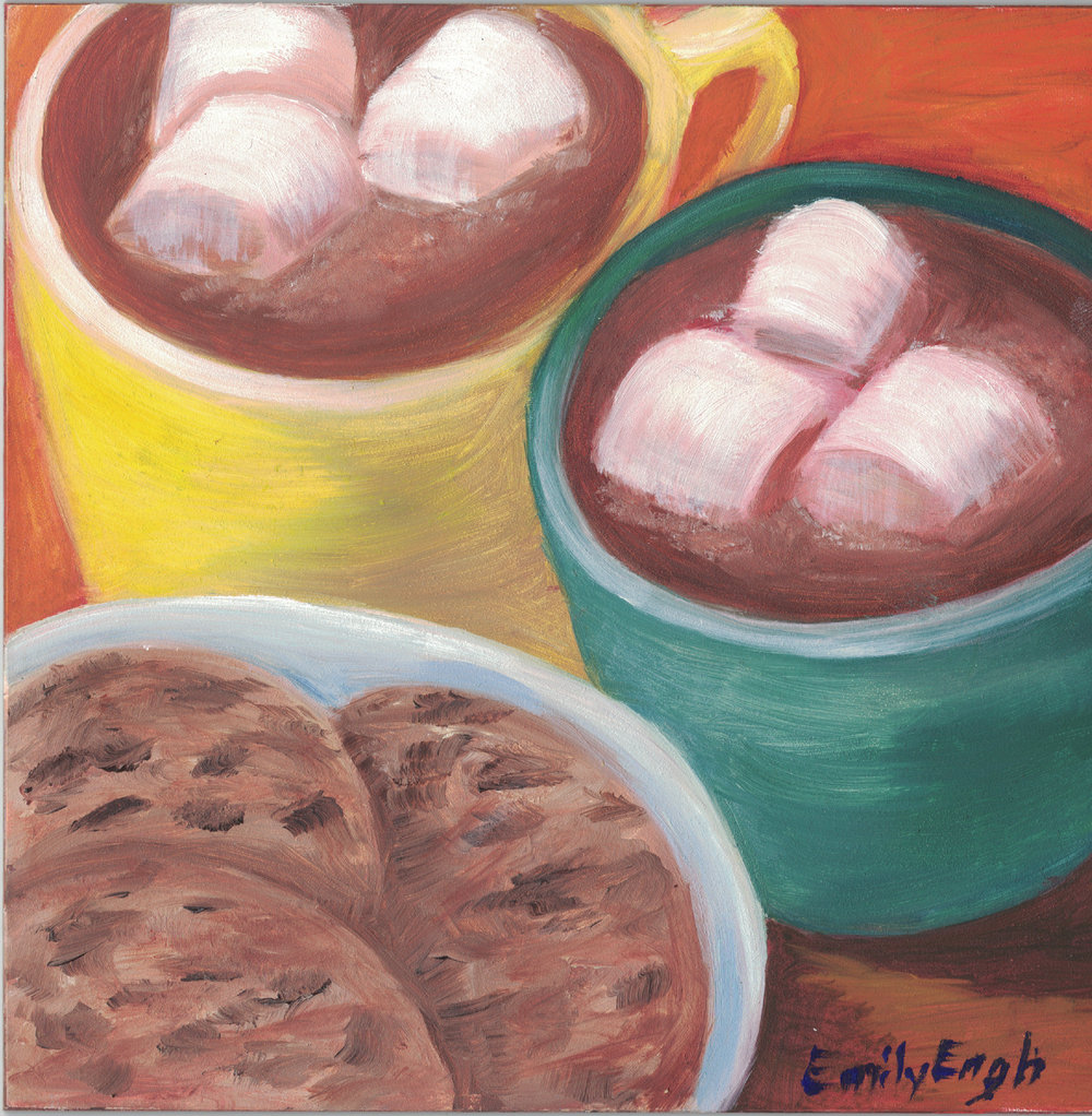 Hot  Chocloate and Cookies 6X6 Inch    Purchase Original Painting Here