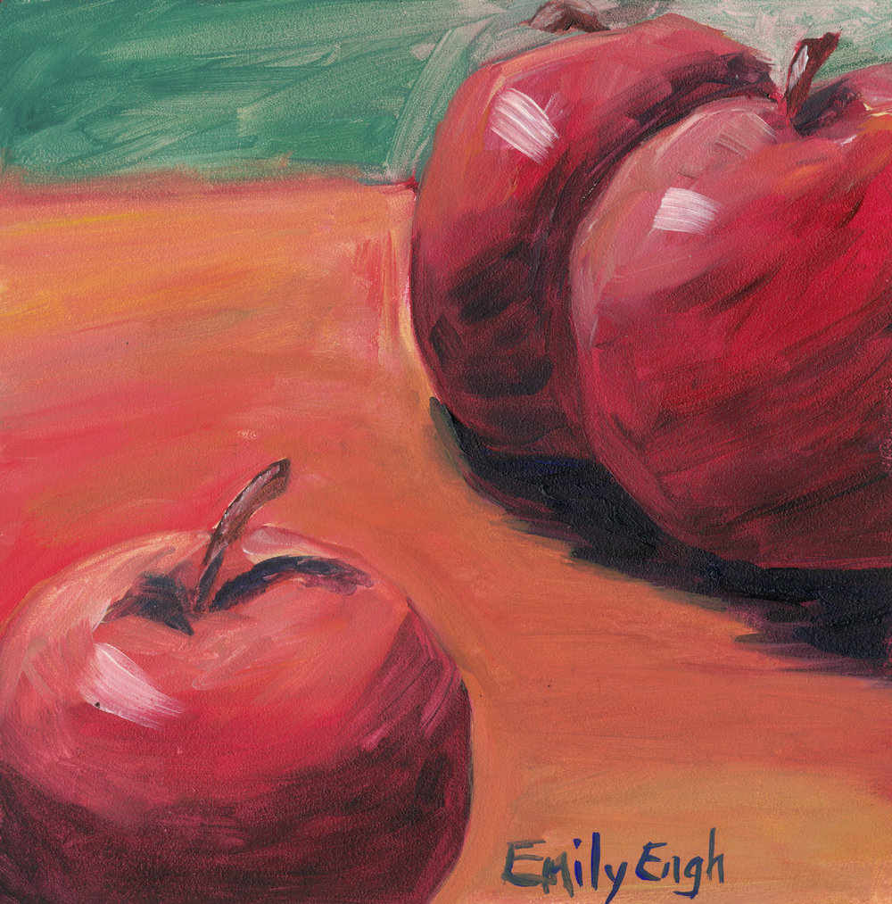 Three Apples 6X6 Inch    Purchase Original Painting Here