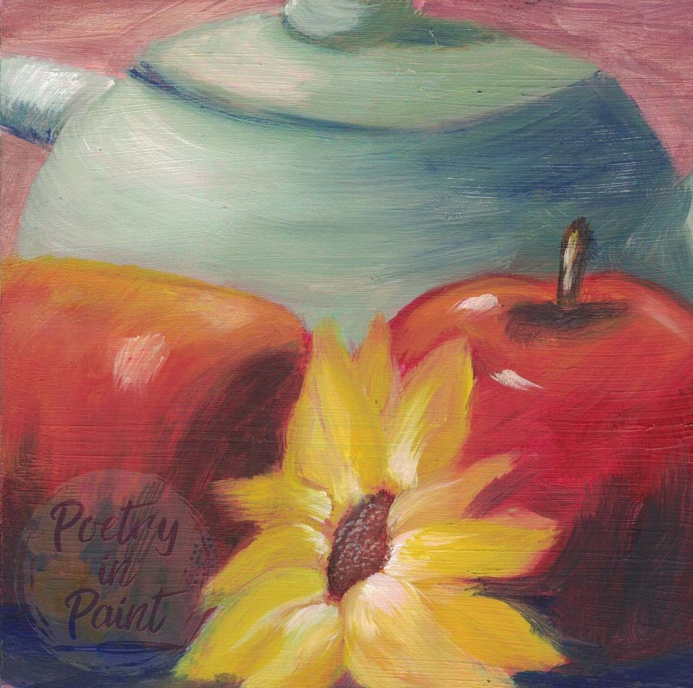 Tea Pot Two Apples and Flower 6X6 Inch    Purchase Original Painting Here