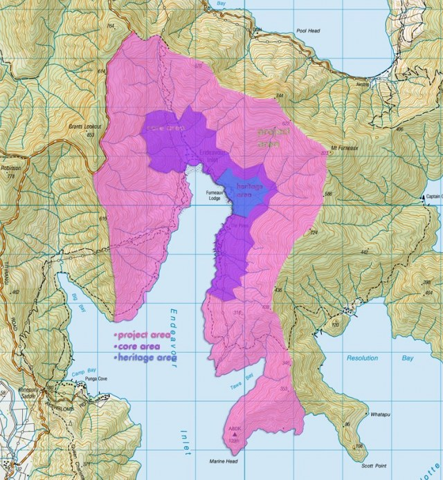 Endeavour Inlet, showing the areas of operation of the Trust