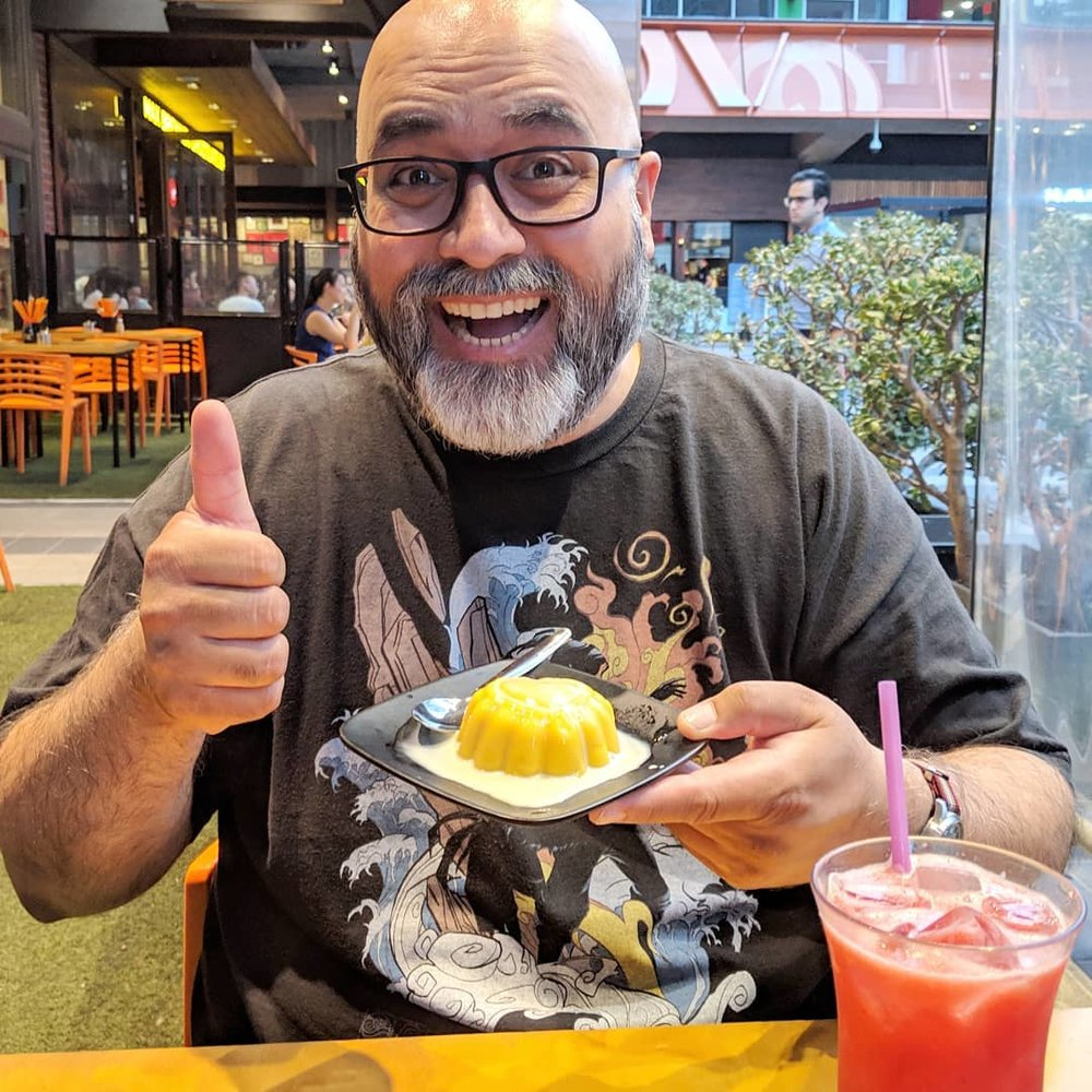 @ameelkhan  is unrepentant in his consumption of mango pudding. #nom #dessert #mangopudding ( Source )