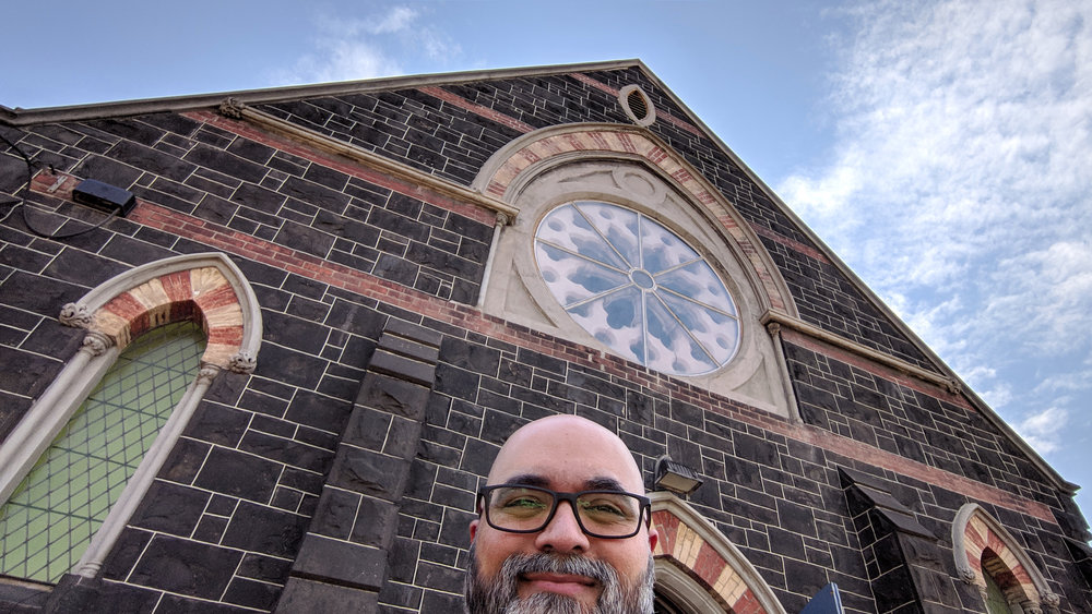 Selfie in front of the Bluestone Church Arts Space on Hyde Street in Footscray.