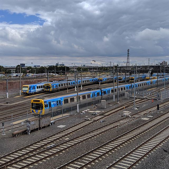 Trains parked at North Melbourne station this afternoon because it's Labour Day in Victoria so there wasn't a peak commute time to accommodate. @metro_trains_melb