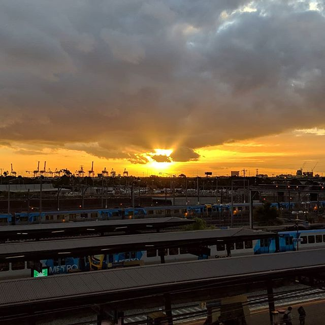 Sunset over North #Melbourne station. #dramaticsky