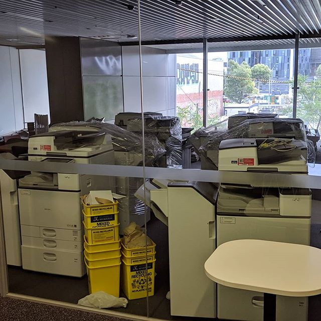 Guess what this room with all the wrapped multifunction printers is called? Yes, it's room 01.020, the 'Multi-function Room' :) #golfclap #busecomelb @busecomelb @unimelb