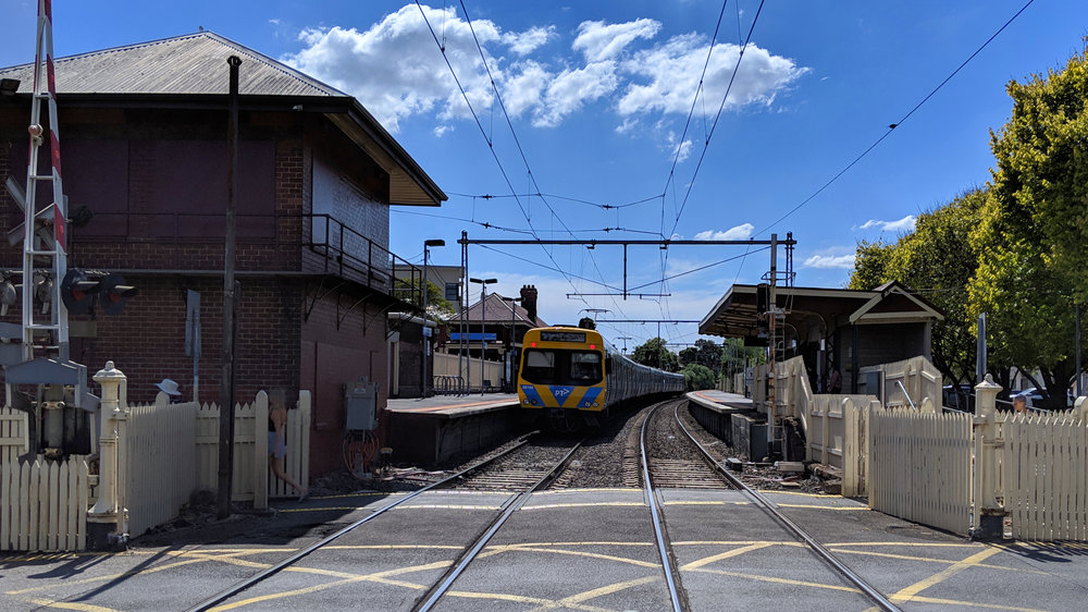 City bound train at Yarraville railway station.