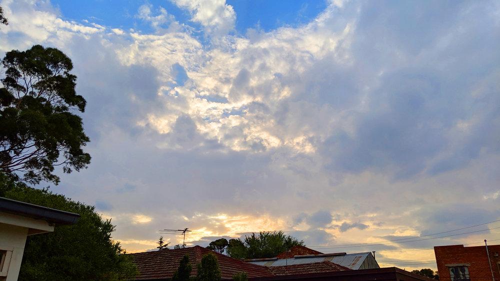 Dramatic skies at sunset in Kingsville, Victoria, Australia.